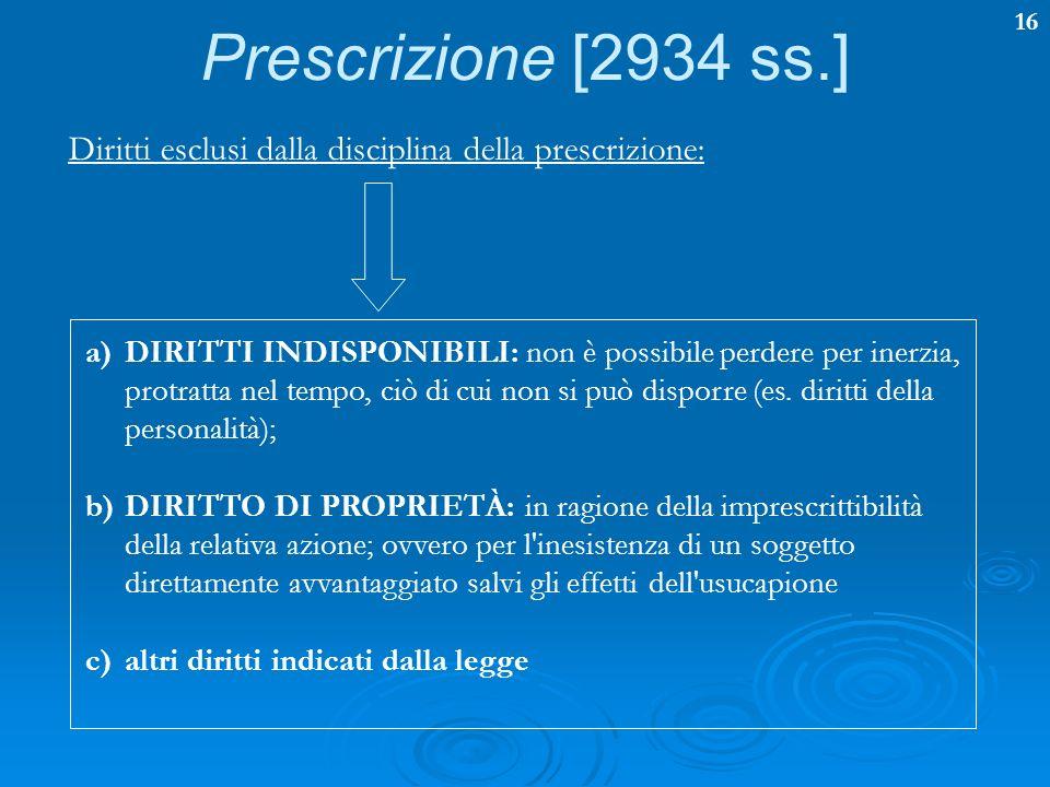 Prescrizione [2934 ss.] Diritti esclusi dalla disciplina della prescrizione: